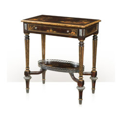 Theodore Alexander - Patterned Chocolate Side Table - An ebonised and gilt two tier chocolate Chinoiserie side table, with gallery undertier, lyre end supports and similar undertier, on downswept legs. The original Louis XVI.