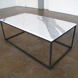 James Devlin Studio - Statuary Cocktail Table by James Devlin Studio - One of our most pared down designs- a simple frame of blackened steel with a statuary marble top. Available in a range of materials and finishes. Custom pricing on request.