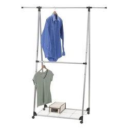 Household Essentials - Double Hang Folding Garment Rack, Chrome - Our Double Hang Folding Garment Rack holds twice the clothing on two hanging bars. This Double Hang Garment Rack The A-frame design differs from the standard garment rack provides hanging space when and where you need it most.