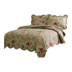 American Traditions - Edens Garden Full Queen Quilt with Pillow Sham - Flowering vines on a bed of sage green with detailed machine stitching and scalloped edges. Edens Garden is a classic quilt used in understated luxury.