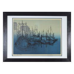 """Consigned Sailboat Painting, Quite Harbor - Quality print of boats docked in harbor. titled """"Quiet Harbor""""."""