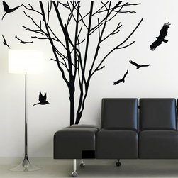ColorfulHall Co., LTD - Tree Wall Decals House Tree Decoration Large Tree with Birds - Tree Wall Decals House Tree Decoration Large Tree with Birds