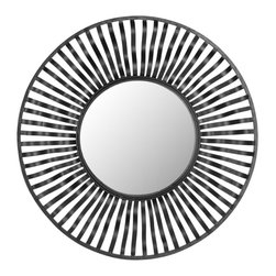 Safavieh - Swirl Round Wall Mirror MIR4014A - The Swirl mirror will add a contemporary twist to any barren wall. This modern sunburst pattern, in black finish, pairs strong geometry with a subtle wave to the iron-crafted rays.