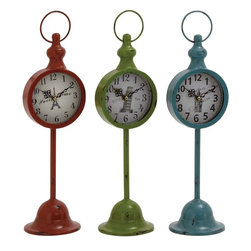 "Benzara - The Statuesque Metal Table Clock 3 Assorted - Are you looking for tall and statuesque table clocks? Looking for table clocks that will add the wow-factor to your decor? Well, now you can do just that with these metal table clocks in three assorted colors. With bodies made out of metal, these clocks have various pictures on their dials. Simple and bold numbers make reading time from them a breeze. Perfect for the living or even other rooms: you can create a theme by using them in various places in your home. Add to that the fact that these have been made using quality materials, and what you have are brilliant creations. Their charming look will capture everyone's attention. They can also make a great gifting item. Perfect for the modern home; these table clocks have no alternatives. So get them today. Metal table clock 3 assorted dimensions: All 3 clocks: 5 inches (W) x 5 inches (D) x 17 inches (H); Table clock color: Green, red, blue; Made from: Metal; Dimensions: 22""L x 14""W x 12""H"