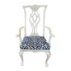 White Lacquered Chippendale Arm Chair - Set of 6 -