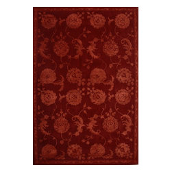 """Nourison - Nourison Regal Red Oriental 8'6"""" x 11'6"""" Rug by RugLots - Traditional design gets a modern update with bold colors and rich designs. Hand carved for an elegant and highly textural look and feel, these hand crafted area rugs from the Regal Collection by Nourison are interwoven with generous portions of silk for an even more sumptuous feel. This collection stands apart and sets a new standard for design and construction. Add one to any room in your home for instant elegance. 100% New Zealand wool with silk."""