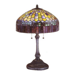 Meyda Tiffany - Meyda Tiffany Lamps Table Lamp in Copperfoil - Shown in picture: Tiffany Candice Table Lamp; In The Early 20th Century - Tiffany Studios Used It's Artful Mastery To Develop The Look Of A Woven Fabric With A Fringed Skirt From Art Glass. Meyda Tiffany Has Recreated This Shade With Amber Plum Glass Fringe Suspended From A Domed Brickwork Of Emerald - Cobalt And Ruby Tinted Honey Glass. Hand Cut And Copper Foiled Glass Pieces Make Up This Stately Table Lamp With Mahogany Bronze Finish.