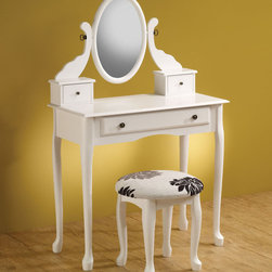 """Coaster - 300288 2-Piece Vanity Set - White - This elegant vanity set will be a nice addition to any traditional bedroom. Featuring a centered oval mirror with small storage drawers. Complementary accent stool included with floral patterned cushion. Finished in white.; Dimensions: Vanity (White): 31.50""""L x 16.00""""W x 50.75""""H; Stool: 16.00""""L x 16.00""""W x 17.00""""H"""