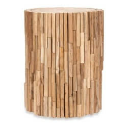 Safavieh - Safavieh Minadoka Reclaimed Teak Round Stool - Bring the feel of the outdoors inside and accent your living space with the natural beauty of the Minadoka round stool.