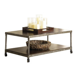Hammary - Structure Rectangular Cocktail Table - One bottom shelf. Four casters. Limited warranty. Assembly required. 48 in. W x 28 in. D x 18 in. H