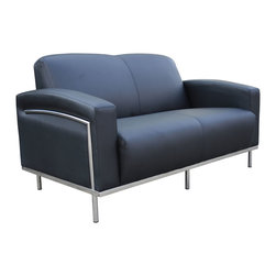 """Boss - Black Caressoftplus Loveseat With Chrome Frame - Contemporary European design. Polished stainless steel frame. Upholstered with ultra soft, durable and breathable Black CaressoftPlus.; Fabric Type: Caressoft; Cushion Color: Black; Frame Color, Base Color, or Wood Finish: Polished Steel; Weight Capacity: 500 lbs; Seat Size: 47"""" W X 20""""D; Seat Height: 18""""H; Arm Height: 24.5""""H; Overall Size: 58.5""""W X 32"""" L X 31.5""""H"""
