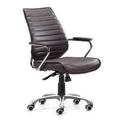 Zuo Modern - Enterprise Low Back Office Chair Espresso - Be the captain of your office with the Enterprise chair series. The perfect command seat, the Enterprise has a solid chrome frame wrapped in a supple leatherette. Comes in either a high or low back chair on wheels or a sturdy conference chair.