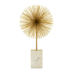 Two's Company - Two's Company Gold Starburst Statue on Marble - Chic up your office or home with this starburst statue on a marble base.