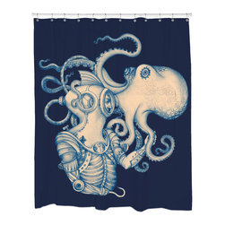 Sharp Shirter - Deep Sea Discovery Shower Curtain - This curtain is printed in USA!. Hooks sold separately. Disclaimer: If you order multiple items, they may ship from separate locations.