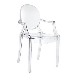 "LexMod - Casper Ghost Dining Armchair in Clear - Casper Dining Armchair in Clear - Combine artistic endeavors into a unified vision of harmony and grace with the ethereal Casper Chair. Allow bursts of creative energy to reach every aspect of your contemporary living space as this masterpiece reinvents your surroundings. Surprisingly sturdy and durable, the Casper Chair is appropriate for any room or outdoor setting. Pure perception awaits, as shining moments of brilliance turn visual vacuums into new realms of transcendence. Set Includes: One - Casper Armchair For Outdoor Use, No Assembly Required, Injection Molded, Stackable, Sturdy Polycarbonate Overall Product Dimensions: 22""L x 21""W x 36""H Seat Height: 18.5""H Armrest Height: 26""H - Mid Century Modern Furniture."