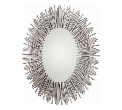 Arteriors - Prescott Oval Mirror, Antique Silver Leaf - Bring striking style to your favorite contemporary setting with this large oval wall mirror. Thin rods of textured iron form a bold sunburst frame that deserves the attention it commands.