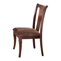 Steve Silver Furniture - Steve Silver Aubrey Side Chair in Medium Brown Cherry [Set of 2] - Side Chair in Medium Brown Cherry belongs to Aubrey Collection by Steve Silver The sleek and simple look of the Aubrey side chairs offers modest elegance with a touch of old-fashioned charm. Made of hardwood solids and cherry veneers, the side chairs feature poly-cotton upholstered seats, shaped vertical slats and tapered legs.  Side Chair (2)
