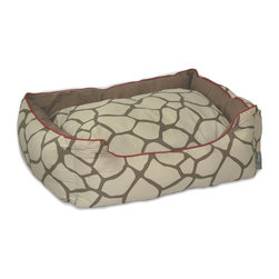 ez living home - Giraffe Couch Bed Khaki on Brown, Medium - *Eye-catching yet subtle giraffe pattern; EZ to decorate with; Complements existing room decoration.