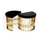 KOKET Mandy - This fluid and unusual stool transcends design and jewelry. Conceived from a cuff bracelet, the demi-lune Mandy stool will embellish any setting.