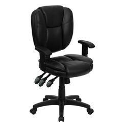 Mid-back Black Leather Multi-functional Ergonomic Task Chair