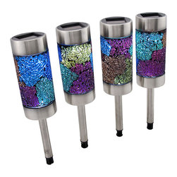 n/a - Set of 4 Multicolor Crackled Glass Solar Garden Lights - This set of solar lights adds a colorful accent to your garden, flower beds, or pathways, day or night. They feature 8 different colors of crackled glass with brushed stainless steel accents. Each light is 10 1/2 inches long, 2 1/2 inches in diameter, and comes with a 4 inch long ground spike. The top cap containing the solar panel is removable to give you access to the on/off switch and to the replaceable battery. Be sure to turn the power switches on and allow the lights to charge in direct sunlight for 6-8 hours for the first initial charge, and enjoy your pretty new lights.