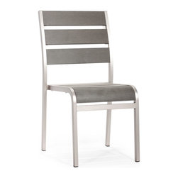 Zuo Modern - Zuo Modern Township Chair in Brushed Aluminum - Chair in Brushed Aluminum belongs to Township Collection by Zuo Modern The Township Chair has a sturdy brusehed aluminum frame and a slatted faux wood seat and back. Chair (1)