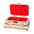 n/a - White Lacquer Inlaid Oriental Jewelry Box - Elegant octagonal Philippine mahogany Oriental jewelry box.  Smooth red silk interior cut into compartments for convenient organizing. Stunning hand carved mother of pearl inlay ladies scene adorns the exterior. Hand finished in glistening white lacquer. This piece draws the eye. Display it proudly on your cabinet top or coffee table. Also makes an impressive and unique gift! You can find an incredible assortment of lacquerware and gift ideas throughout our website. Why not add a second selection? Don��t wait, though. These hand painted Asian treasures are in limited supply.