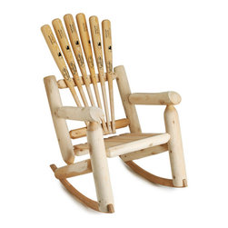 Baseball Rocking Chair, Adult - Sure to be your favorite seat outside the stadium, these sturdy rockers are handmade from reclaimed baseball bats and unfinished Canadian white cedar. Handmade in Massachusetts.