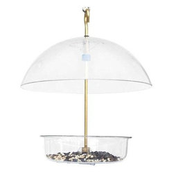 "Droll Yankees - Droll Yankees X 1 Seed Saver Feeder - Droll Yankees Seed Saver 7"" x 1-3/4"" dish with 10"" cover on brass rod for any seed mealworms suet or fruit. Hang or pole mount-fully assembled. Clear color. Multi use feeder."