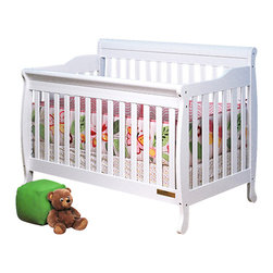 AFG Baby - AFG Baby Alice Convertible Crib with Toddler Rail in White - The Alice 3 in 1 Crib is crafted of solid wood with a choice of 3 classic finishes. Simple, modern crib with step side panels, the crib can be converted into a toddler bed and full-size bed. It comes equipped with a guard rail and a 4 level mattress support. Its simple, convertible ability allows you to adjust the product throughout your child's growth.