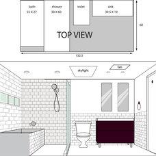 Modern Interior Elevation illustrated layout for bathroom