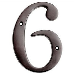 "Stella House Number, 6, Vintage Brass finish - These beautifully crafted numbers add a warm, polished accent that coordinates perfectly with our Stella Door Knocker and Mail Slot. 0: 4"" wide x 5"" high 1: 2"" wide x 5"" high 2: 3"" wide x 5"" high 3: 3"" wide x 5"" high 4: 3.5"" wide x 5"" high 5: 3"" wide x 5"" high 6: 3"" wide x 5"" high 7: 3"" wide x 5"" high 8: 3"" wide x 5"" high 9: 3"" wide x 5"" high Made of brass, stainless steel and zinc with an antique silver, vintage brass or bronze finish. Sealed with lacquer. Internet only."