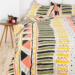 Bauhaus Stripe Duvet Cover - I love, love, love this cheerful print! It is warm and happy without being overwhelming..