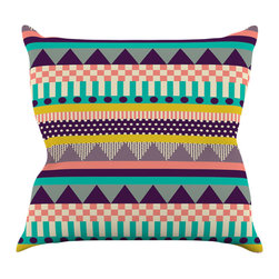 """Kess InHouse - Louise Machado """"Decorative Stripes"""" Teal Pink Throw Pillow (16"""" x 16"""") - Rest among the art you love. Transform your hang out room into a hip gallery, that's also comfortable. With this pillow you can create an environment that reflects your unique style. It's amazing what a throw pillow can do to complete a room. (Kess InHouse is not responsible for pillow fighting that may occur as the result of creative stimulation)."""