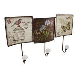 Antique Sheet Music Postcard Themed Metal Coat Hooks - These coat hooks add a decorative accent to your wall while providing a place to hang hats, coats, dog leashes, or bags. Measuring 17 3/4 inches long, 11 inches high, 2 1/4 inches deep, this piece is great for smaller spaces and it easily mounts to the wall with 2 nails or screws by the hangers on the back. Each metal square above the hooks features a sheet music background with stamps and postmarks completing the theme. This piece makes a great housewarming gift that is sure to be admired.