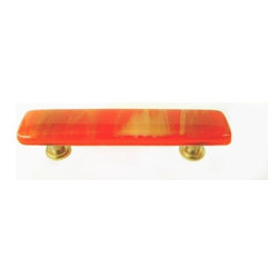 Uneek Glass Fusions - Terracotta Cream Glass Drawer Pull - Collection: Liscio
