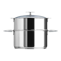 Cristel - Cristel Casteline Multiply 5-Ply Stainless Stock Pot With Lid 9.7-qt. - The base is made out of 5-ply alloy of stainless steel and aluminum. The heat is simultaneously spread over the whole surface of the base and sides. For gentle, economic cooking with no risk of sticking and protecting all the nutritional qualities of food. Multicooking: suitable for all cooking cooktops; can also be placed on the oven (with or without the lid)Simplicity: In one easy gesture the handle goes from the saucepan to the pan, the frying pan and on lids with automatic locking. Compact Storage: Parts can be fully nested inside one another thereby saving space and masking easier for dishwasher loadingSafety: the removable automatic locking handle ensures dual safety. With no projecting handle the cooking space is made safe meaning there is no risk of children's hands or aprons catching on it. Inside grading. Polished Finish. Assort handle colors and finishes are available. Excalibur PFOA free Non Stick interior. Dishwasher safe.. Included: Glass lid, Pot and Casteline Long Removable Handle. Made in France.