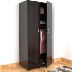 Inval America LLC - Inval 2-Door Contemporary Armoire - The Inval 2-door, 2-shelf armoire is a modern and functional storage solution for any home. This armoire is made of engineered wood laminated in double-faced durable Melamine which is stain, heat and scratch resistant.