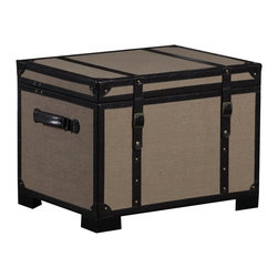 Linon Home Decor - Linon Home Decor Decorative Chests / Trunk X-SA-10-NIL60855 - Ideal for adding decorative function to any area of your home, the Burlap Storage Trunk has a transitional design and style. The burlap exterior is accented with brown PU Leather details and brass nailheads. Handles on two sides make moving the piece easy. The spacious interior provides room for storing a multitude of items. Solid Wood Legs lift the piece off of the floor.