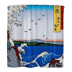 "Sharp Shirter - Wild Sea Breaking on the Rocks Shower Curtain - ""This curtain is printed in USA!. Hooks sold separately. Disclaimer: If you order multiple items, they may ship from separate locations."""