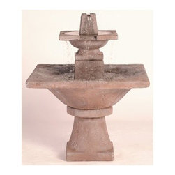 2-Tier Quadrate Garden Fountain, Country Oak - Finding a way to create a superior and an elegant look in your garden? The The 2 Tier Quadrate Garden Fountain exactly has all the aesthetic qualities you need to create a more appealing outside scenery. It's a fountain that will add a touch of sophistication and create an ambiance of peace because of its soothing water flowing sound.
