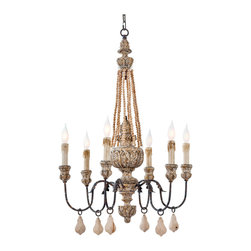 Kathy Kuo Home - Ronsard French Country Wood Bead Parisian Chandelier - If you're aiming for a romantic effect in the dining room, then look no further. With graceful curves, leafy detail and an aged surface, this chandelier will make your home feel like a French farmhouse.