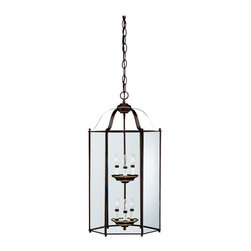 "Sea Gull Lighting - Sea Gull Lighting 5233 Foyer Pendant from the Classic Hall Collection - Foyer pendant with six lights displayed on two tiersLong clear glass panels all around reveal radianceOverall Height with Chain: 120"", supplied with 12 feet of chain6 60w Candelabra Base Required (Not Included)"