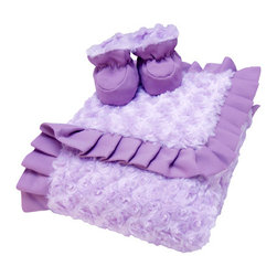 """Trend Lab - Luxe Gift Set - Lilac And Plum Swirl Velour Blanket And Booties - Wrap your bundle of joy in soft luxury with Trend Lab's Lilac and Plum Swirl Velour Ruffle Trimmed Receiving Blanket and Reversible Baby Bootie Luxe Gift Set. Blanket features two luscious layers of plush lilac swirl velour surrounded by an elegant silky plum matte satin ruffle so you may cuddle your baby in warmth and touchable softness. Booties feature ultra warm swirl velour on one side and silky smooth matte satin on the other making these booties perfectly reversible. The cuddly lilac swirl velour provides warmth and softness, while silky plum matte satin adds a touch of luxury. Pamper your little one with this high-fashion blanket and bootie gift set. Blanket measures 30"""" x 40"""". Booties are size 0-6 Months."""