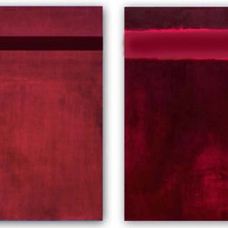 'Chicago Skyline' Two Abstract Paintings, Crimson Red - 'Chicago Skyline' was a custom order that was inspired by the mid century artist Barnett Newman. Similar pieces  of mid century minimal color field painting is now being offered here on houzz by San Francisco Bay Area artist Victoria Kloch.