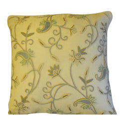 Crewel Pillow Almond RawSilk Silk Organza (20x20)