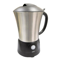 SPT Appliance - Milk Frother - Froths or steams milk in less than 90 seconds. Easy to clean non-stick surface . Soft touch on/off button with automatic shut-off . Power indicator . Premium brushed stainless steel cordless carafe . 360 degrees swivel base. No assembly required. 6.6 in. L X 4.5 in. W X 9 in. H (1.75 lbs.)This elegant and space-saving One-Touch Milk Frother doubles as a milk warmer. Makes decadent steamed and frothed milk for specialty drinks with just the push of a button. User-friendly and efficient, this unit whips milk to a rich, creamy consistency in less than 90 seconds. Up to 6-ounce capacity for frothing milk or 20-ounce for heating milk. Features cordless carafe that detaches from the base for easy serving and non-stick coating for easy clean up. Note: appliance is temperature controlled, best to wait 5 minutes in between uses for best result.