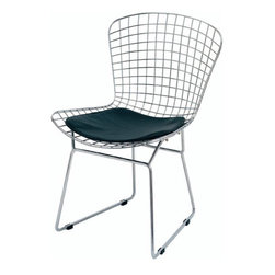 NUEVO - Wireback Chair, Black - With a steel frame and a high polish chrome finish, the Steel back Chair is the prefect mix of stylish contemporary with incredible comfort ability.