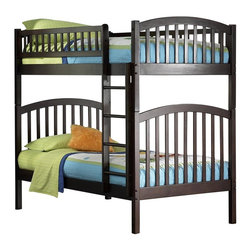 Atlantic Furniture - Richmond Twin Over Twin Bunk Bed in Antique W - Comes complete with two 14 piece slat kits and free standing or clip on ladder. Includes slat kit for mattress support. Made of premium, eco-friendly hardwood with a 5-step finishing process. Solid hardwood Mortise & Tenon construction. 26-Steel reinforcement points. Designed for durability. Guard rails match panel design. Meet or exceed all ASTM bunk bed standards, which require the upper bunk to support 400 lbs.. Clearance from floor without trundle or storage drawers: 11.25 in.. 78.88 in. L x 42.63 in. W x 69.25 in. H. Optional flat panel drawers: 74 in. L x 22 in. W x 12 in. H. Optional raised panel drawers: 74 in. L x 24.38 in. W x 12 in. H. Optional raised panel trundle: 74.75 in. L x 40.38 in. W x 11.63 in. H. Bunk Bed Warning. Please read before purchaseArch and slat design compliments the clean lines and the high build finishes is beautiful and durable.