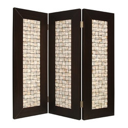 Screen Gems - Screen Gems Catalina Screen - 84 Inch - This high design elegant 3-panel screen has inlayed pearl shell. The square pearl s are collectively arranged in a stunning rectangular pattern resulting. The hand made screen is finished on both sides.